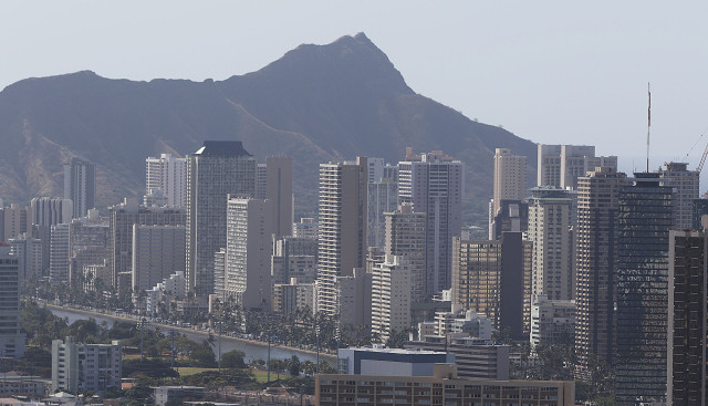 Diamond Head with Hotels and condominiums in the foreground. 27 march 2015. photograph Cory Lum/Civil Beat
