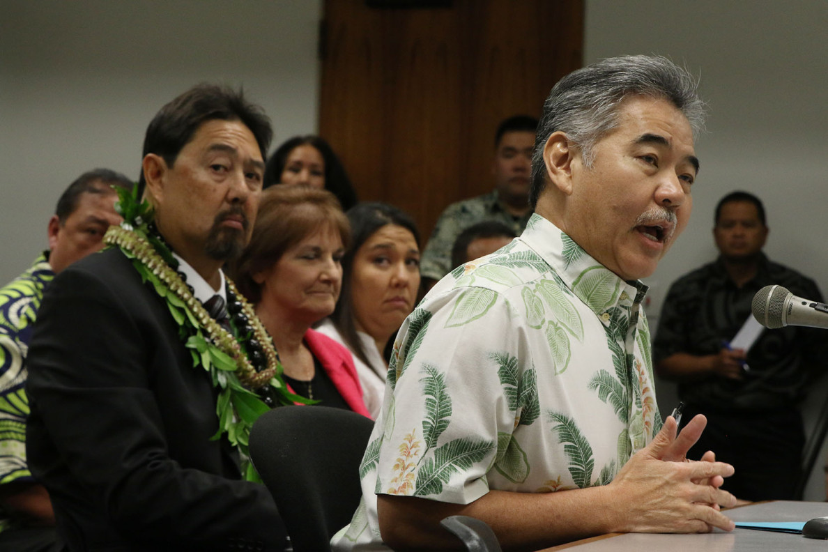 Governor David Ige testifies in support at senate confirmation hearing of Carleton Ching as DLNR head.  11 march 2015. photograph Cory Lum/Civil Beat