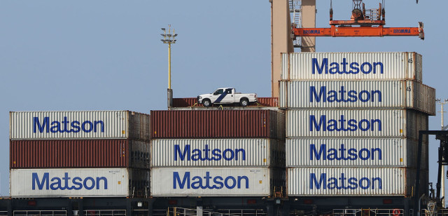 Matson containers on ship. Sand Island. 24 march 2015. photograph Cory Lum/Civil Beat