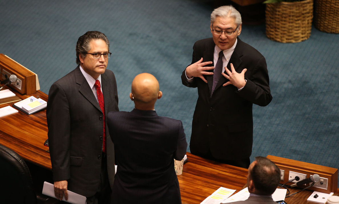 Right, Senator Les Ihara chats with Senator Will  Espero and Senator Kalani English during recess before DLNR Carleton Ching nomination hearing at the Senate.  18 march 2015. photograph Cory Lum/Civil Beat