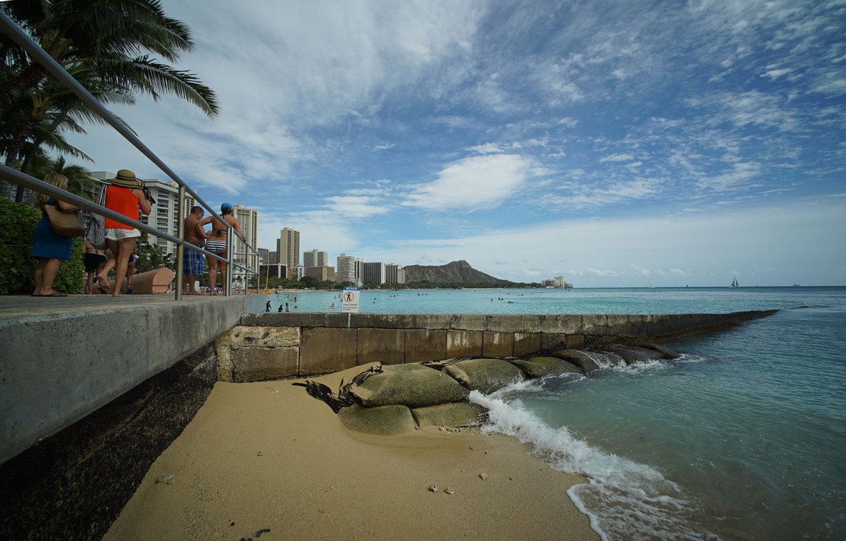 Walkway overlooking a beach wall near the makai side of the Sheraton Waikiki Hotel.  5 March 2015. photograph Cory Lum/Civil Beat