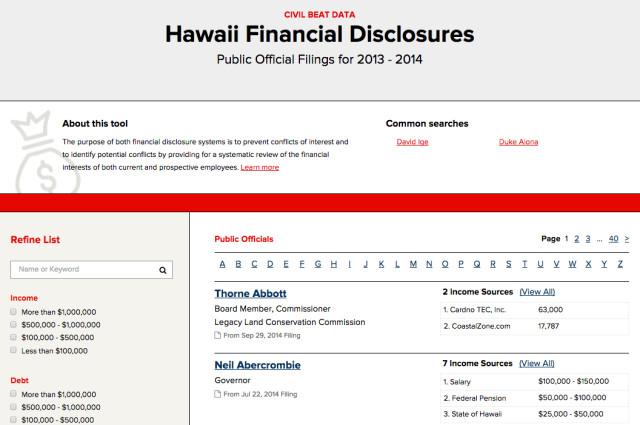 Disclosure Database Screenshot