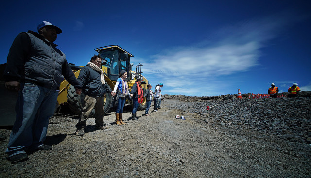 Demonstrators gather on the summit of Mauna Kea at the road block of the TMT work site. 11 april 2015. photograph Cory Lum/Civil Beat