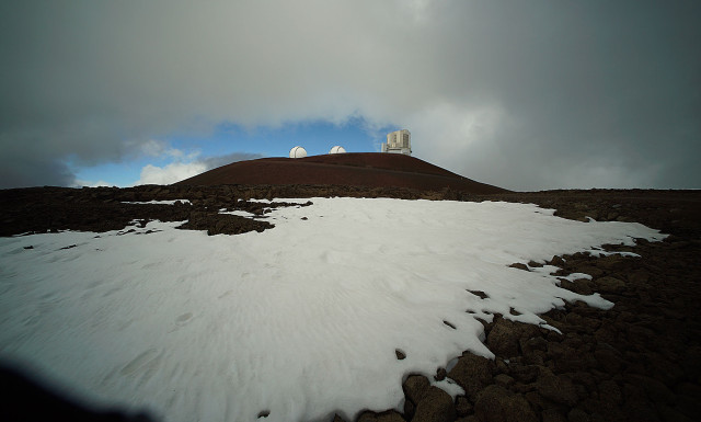 Mauna Kea summit view from TMT site looking up towards the Keck and Subaru telescopes. 9 april 2015. photograph Cory Lum/Civil Beat