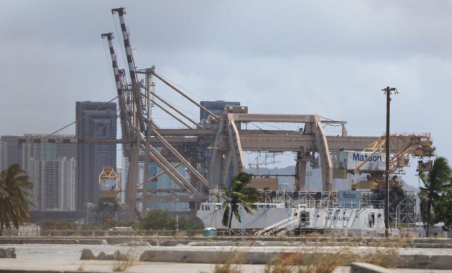 Cranes sit near sand island Matson facility. 15 april 2015. photograph by Cory Lum/Civil Beat