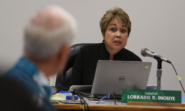 Senator Lorraine Inouye questions Mayor caldwell during senate ways and means hearing. 7 april 2015. photograph by Cory Lum/Civil Beat