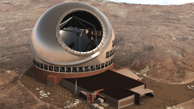 An artists' depiction of the Thirty Meter Telescope on Mauna Kea as seen from above.