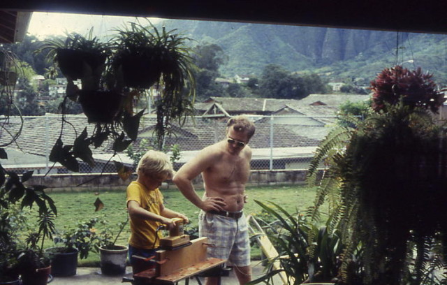 Harvey Meeker and his dad in the shadow of the Koolau mountain range