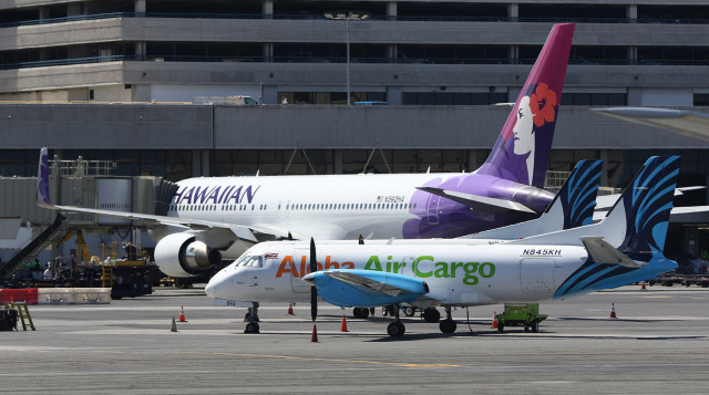 Hawaiian Airlines and Aloha Air cargo. Interisland terminal 22 june 2015. photograph Cory Lum/Civil Beat