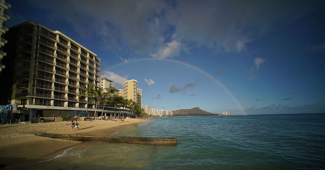 Passing showers blanketed Waikiki's landmark Diamond Head.  9 june 2015. photograph Cory Lum/Civil Beat