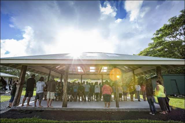 Students during morning opening protocol at the Ka 'Umeke Ka'eo charter school in Hilo HI