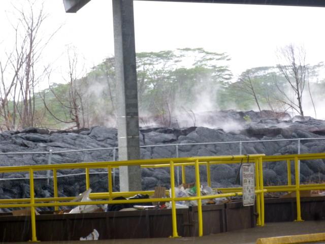 Lava next to the Pahoa transfer station