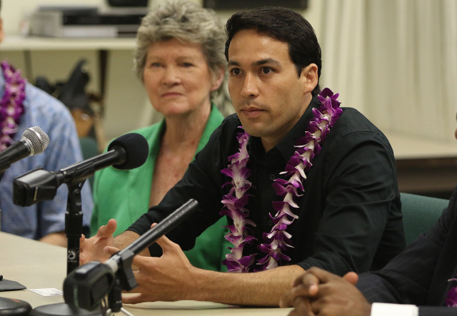 Rep Chris Lee speaks to media during press conference at UH Law School. Environmental Court. 26 june 2015. photograph by Cory Lum/Civil Beat