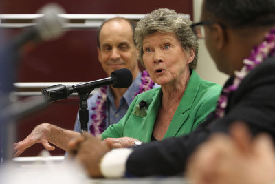 Hawaii State Representative Cynthia Thielen makes a point during press conference held at UH Law on Environmental Court. 26 june 2015. photograph by Cory Lum/Civil Beat