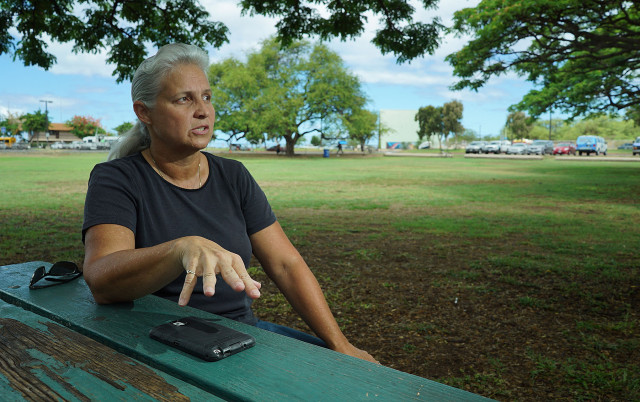 Representative Jo Jordan speaks to reporters at the Waianae Boat Harbor. 19 june 2015. photograph Cory Lum/Civil Beat