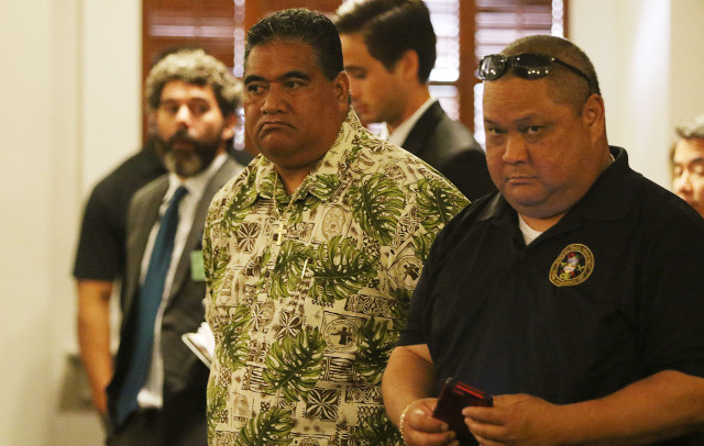 SHOPO President Tenari Maafala stands in the Hawaii State Supreme Court as attorneys present their arguments. 18 june 2015. photograph Cory Lum/Civil Beat