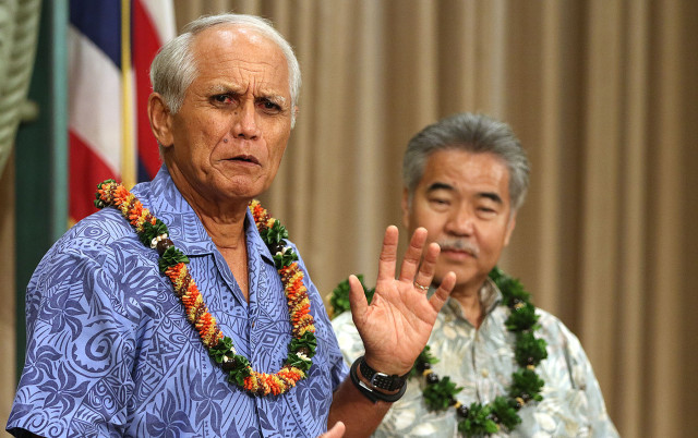 Sen Mike Gabbard speaks to media during Governor Ige's bill signing ceremony. 8 june 2015. photograph Cory Lum/Civil Beat