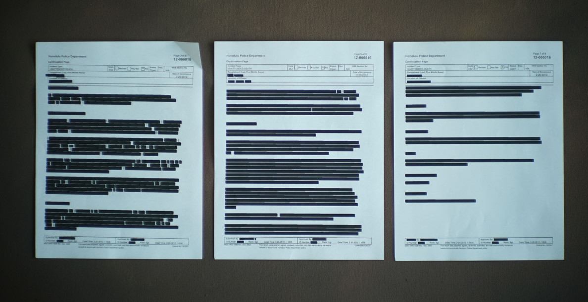 Torres redacted documents1. 20 june 2015. photograph Cory Lum/Civil Beat