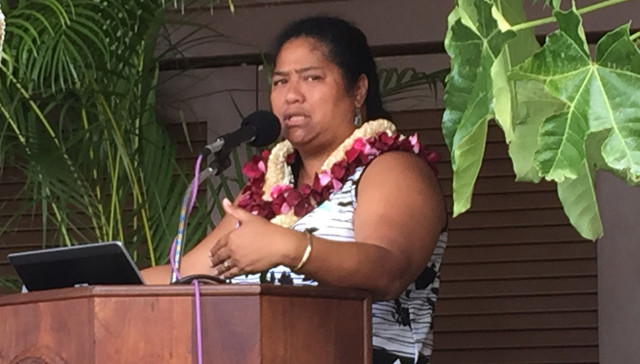 Dawn Kaui Sang, the new director of the Office of Hawaiian Education speaks at a conference on native Hawaiian education. 21 july 2015.