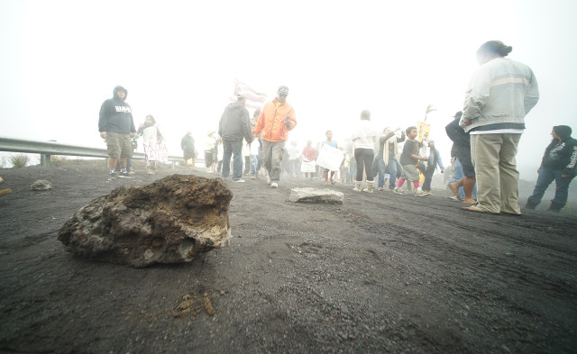 Rocks all over Mauna Kea access road. 25 june 2015. photograph Cory Lum/Civil Beat