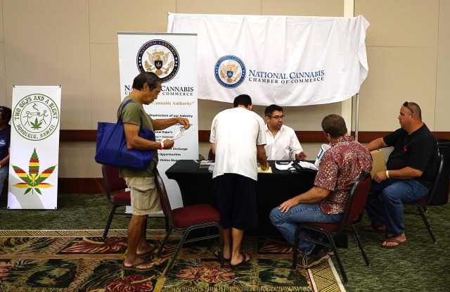 Marijuana Expo. National Cannabis Chamber of Commerce booth at the Hawaii Convention Center. 19 july 2015. photograph Cory Lum/Civil Beat
