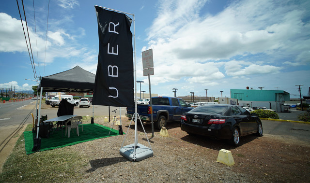UBER tent along Farrington Highway. 21 july 2015 photograph Cory Lum/Civil Beat