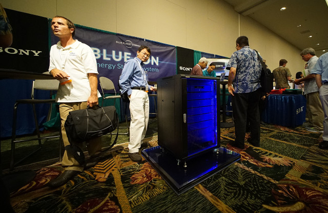 Blue Planet Hawaii's booth with Sony's battery display at the Asia Pacific Resilience Innovation Summits and Expo. 24 aug 2015. photograph Cory Lum/CIvil Beat