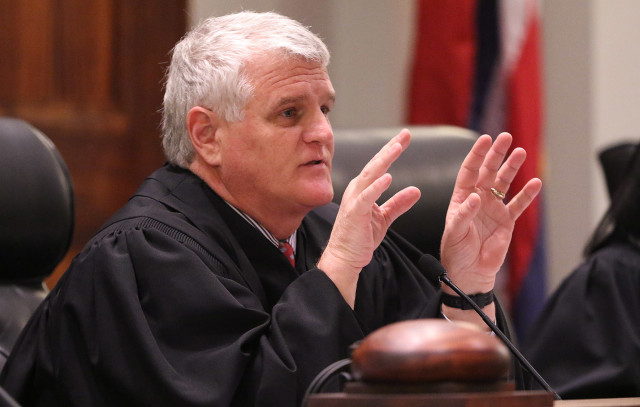 Hawaii State Supreme Court Chief Justice Mark Recktenwald gestures during attorneys oral arguments. mauna kea tmt. 27 aug 2015. photograph Cory Lum/Civil Beat