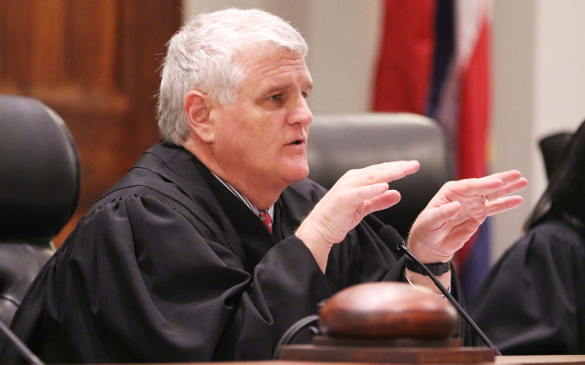 Supreme Court of Hawaii Chief Justice Mark Recktenwald gestures during attorneys oral arguments. mauna kea tmt. 27 aug 2015. photograph Cory Lum/Civil Beat