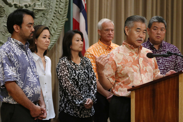 Governor David Ige gives update on homeless task force announcing enforcement. 27 aug 2015. photograph Cory Lum/Civil Beat