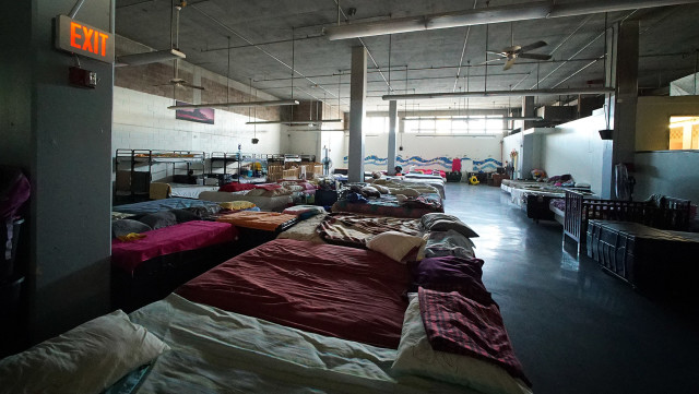 Living area for families at Institute of Human Services women's shelter. 10 sept 2015. photograph Cory Lum/Civil Beat