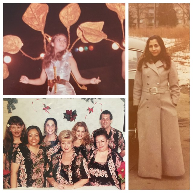 Top left: Ingrid Rodrigues performs during Carnival as a teenager in Trinidad; right: Rodrigues studied design in Washington, D.C. before she moved to Hawaii; bottom left: Rodrigues sits furthest to the right in this company Christmas photo.