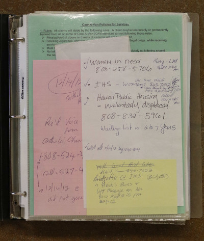 One of several binders containing Ingrid Rodrigues' meticulous notes about her search for shelter.