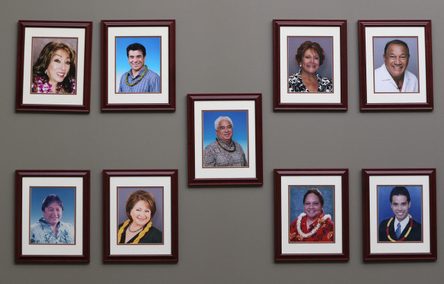 Photos of the current trustees at the OHA's corporate headquarters on North Nimitz Highway in Honolulu .
