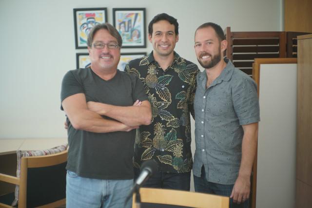 Representative Chris Lee, Chad Blair and Nathan Eagle. Civil Beat Editorial Board Meeting seen thru laptops. 11 sept 2015. photograph Cory Lum/CIvil Beat