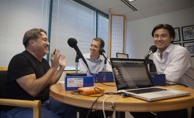 Pod Squad host Chad Blair (left) with ACLU's Dan Gluck (middle) and Civil Beat reporter Rui Kaneya (right)
