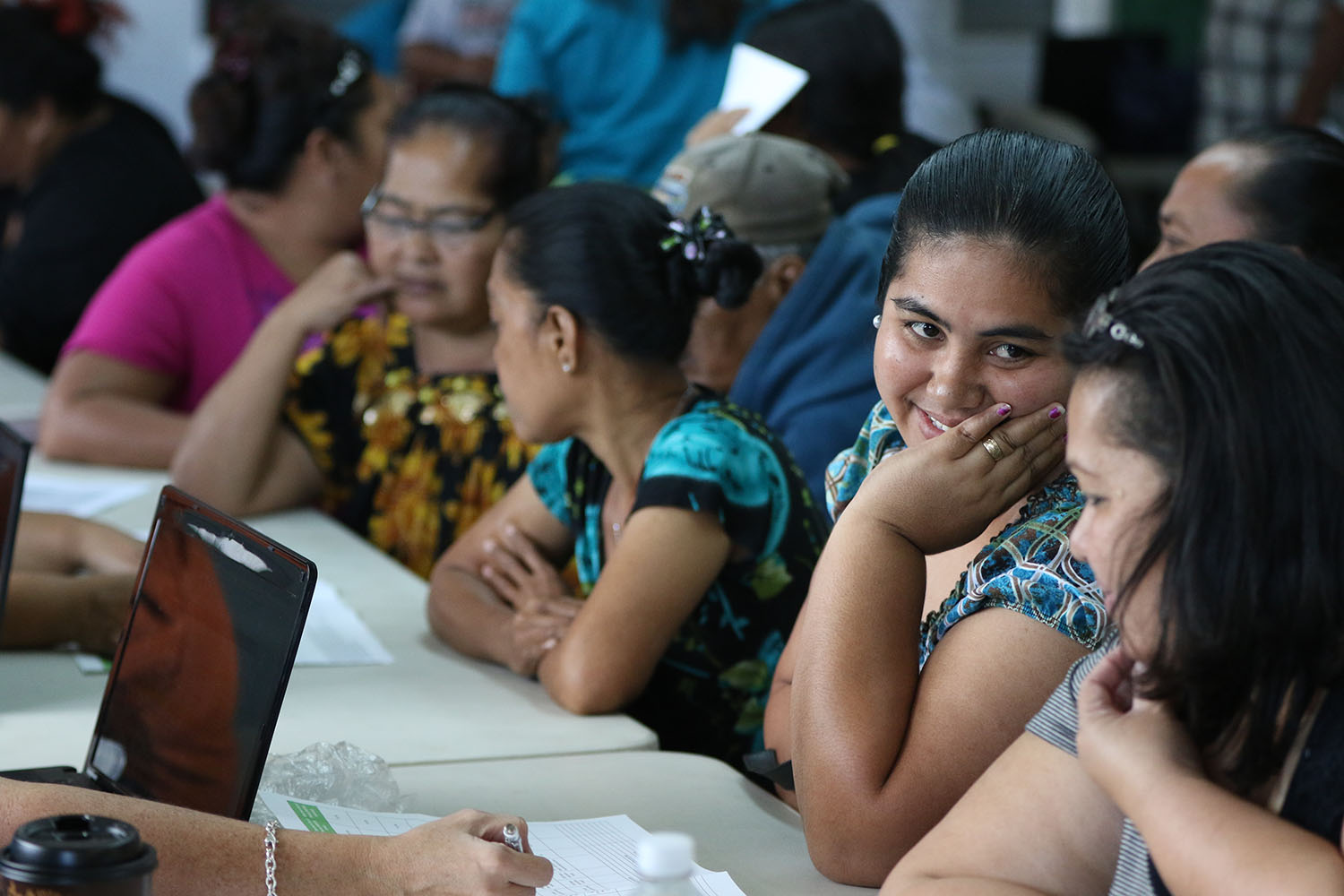 <p>Dakleen Salla from Chuuk, left, successfully enrolled in the Hawaii Health Connector at the St. Elizabeth&#8217;s recruitment drive.</p>