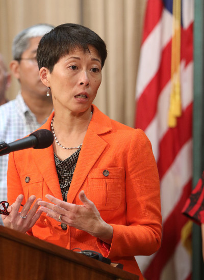 Director of Human Services, Rachael Wong speaks during Governor Ige's press conference / update on Kakaako homeless enforcement. 16 oct 2015. photograph Cory Lum/Civil Beat
