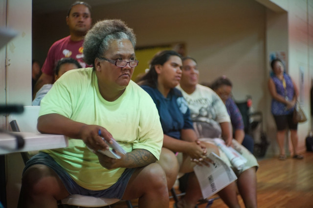 Twinkle Borge, left, attends most Waianae community meetings to make sure people have a way to communicate concerns about The Harbor.