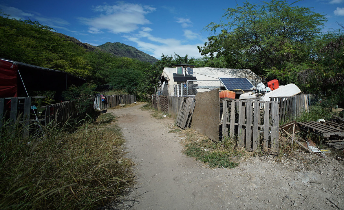 Several camps have installed solar panels to power lights and household appliances.