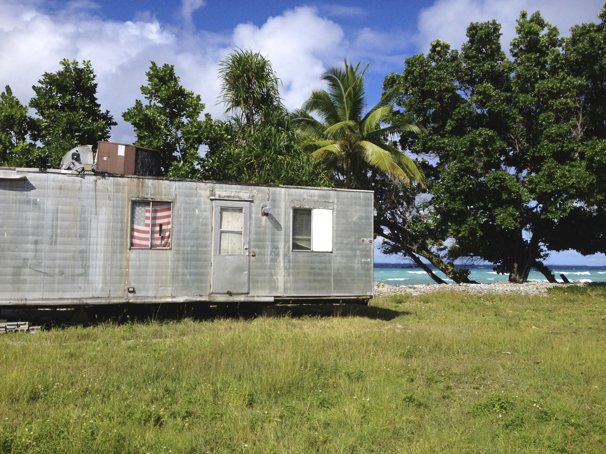 A trailer home on the lagoon side of Majuro Atoll in the Marshall Islands.