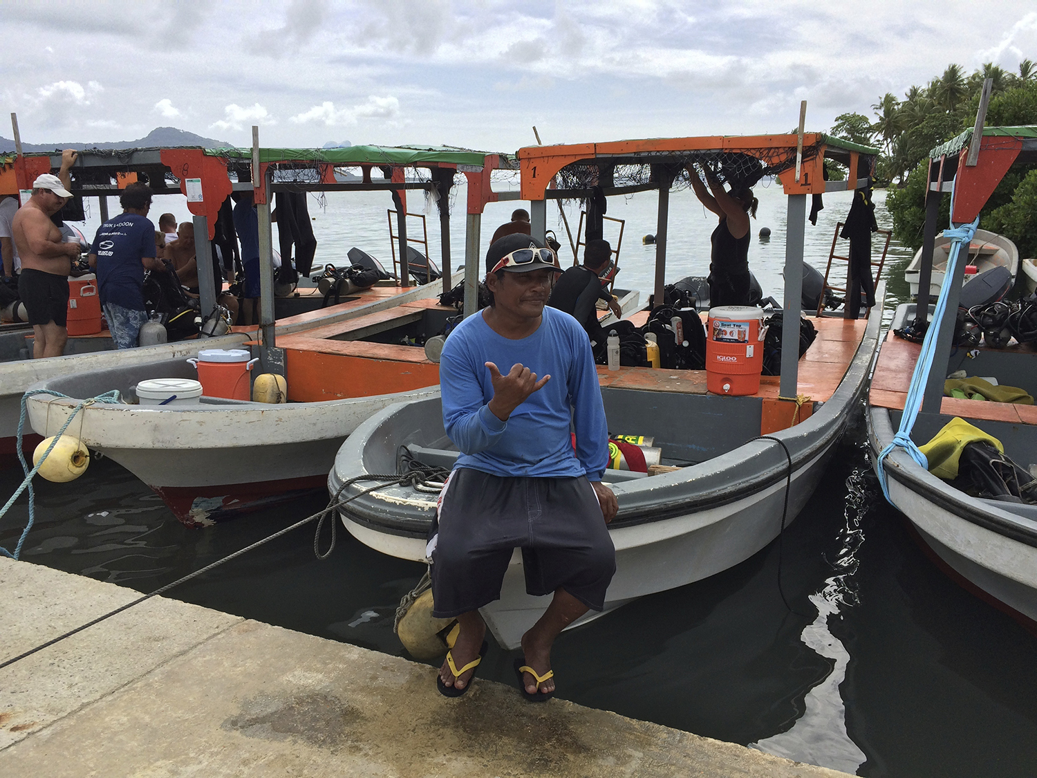 <p>At Blue Lagoon Resort, an employee knows to wave a &#8220;shaka&#8221; to a visitor from Hawaii. The resort is one of Chuuk&#8217;s rare thriving businesses, visited by tourists from Europe, Australia, New Zealand, Japan and North America.</p>