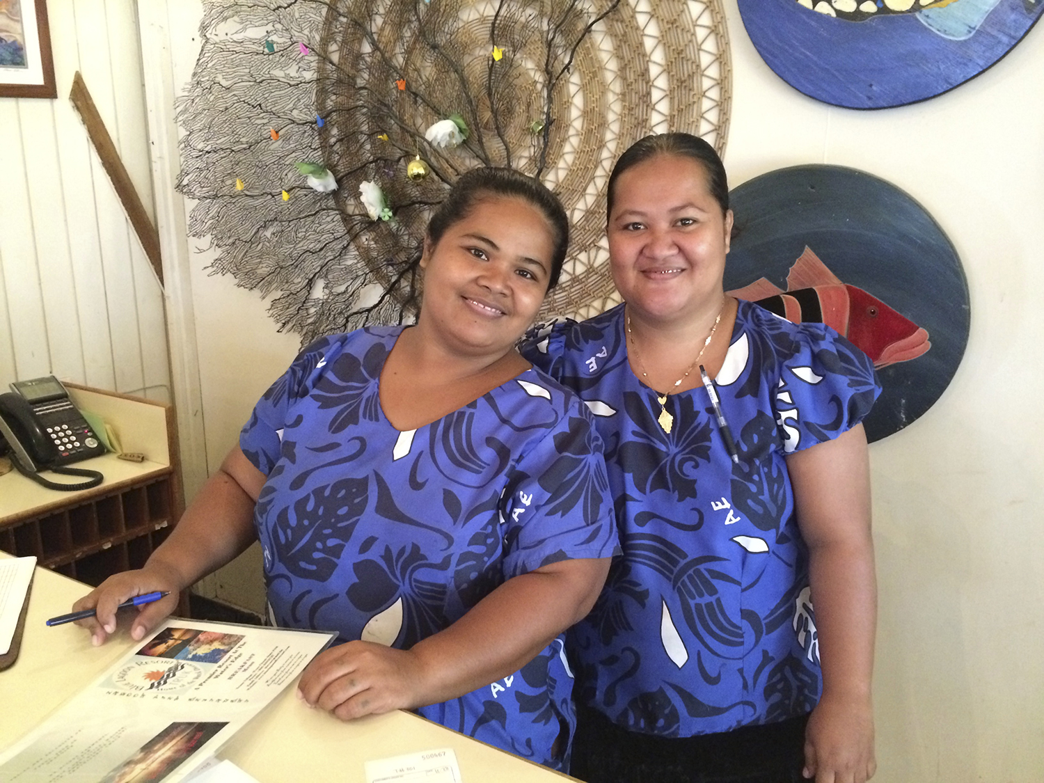 <p>The waitresses at the Blue Lagoon Resort will patiently teach visitors Chuukese phrases.</p>