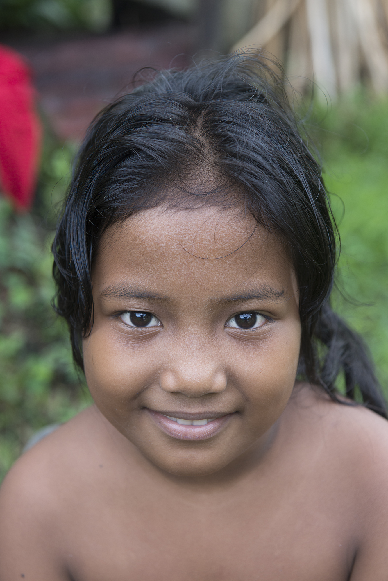 <p>This girl&#8217;s family is from Chuuk. Her family patriarch, Sam Saul, moved to Pohnpei as a young man after a storm devastated his home island.</p>