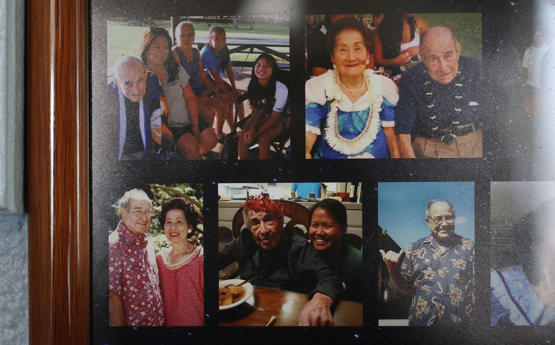 <p>A photo collage in Dorothy Meadows&#8217; Punchbowl apartment includes images of her late husband, Walt Meadows. The two would sit and hold hands every day — he&#8217;d even kiss her hand before leaving to go the bathroom, says grand-nephew Eugene Hopkins.</p>