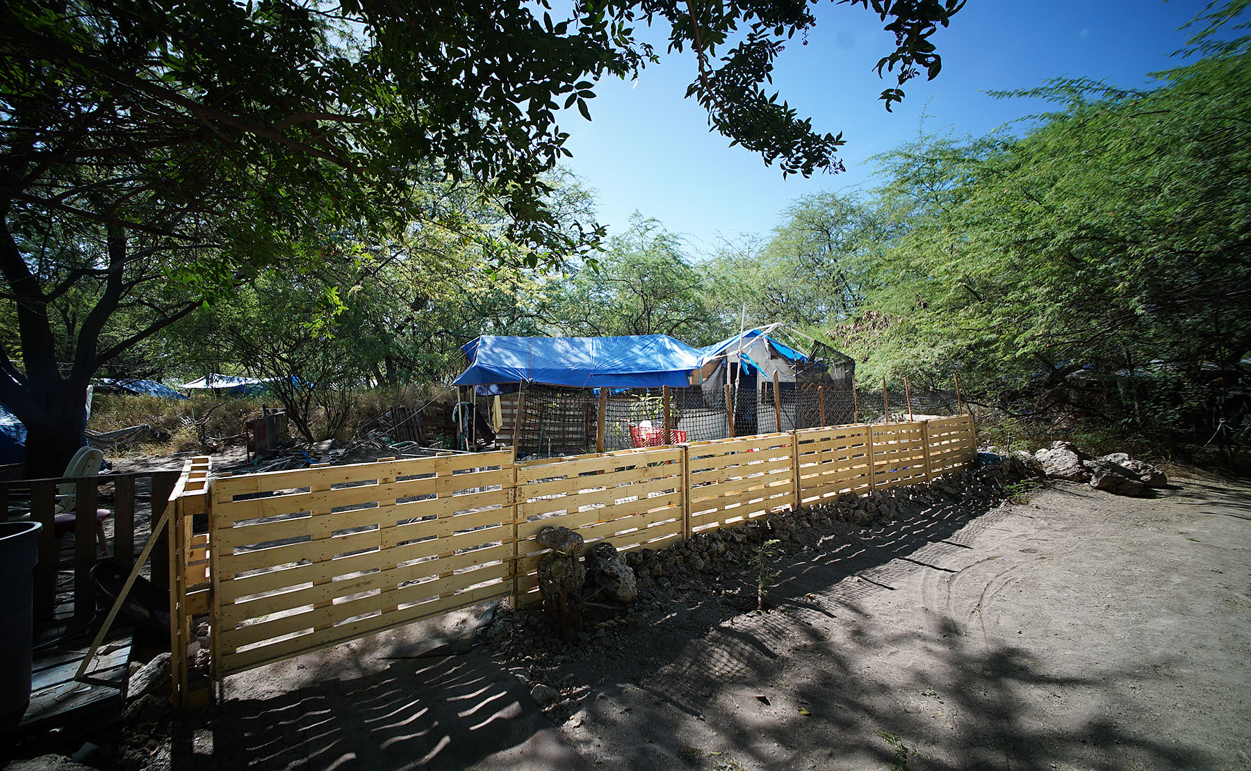 <p>Tam and Queenie wanted their home to feel more secure, so they added a fence to the coral rock wall that Shina Gonzalez built before moving out.</p>