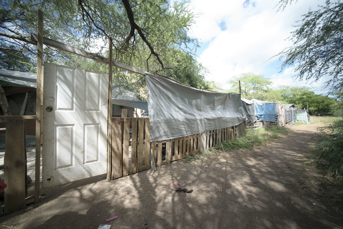 Micronesian families, who had made up a large percentage of urban Honolulu homeless camps, are increasingly moving to The Harbor. This is the entrance to a Micronesian family's compound.