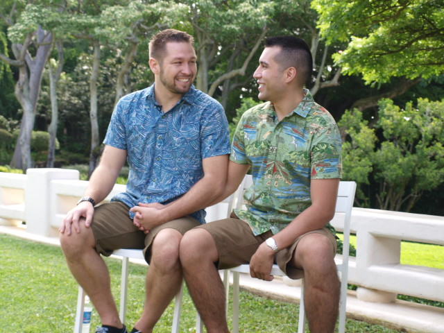 Shayne (left) and Christian Alarid, whose wedding day is captured in a new video released Monday by the Hawaii Convention and Visitors Bureau.