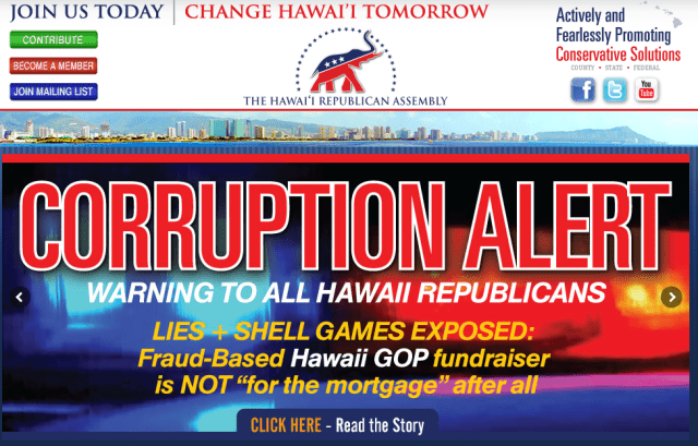 The Hawaii Republican Assembly's web page frequently contains criticism of the state Republican Party.