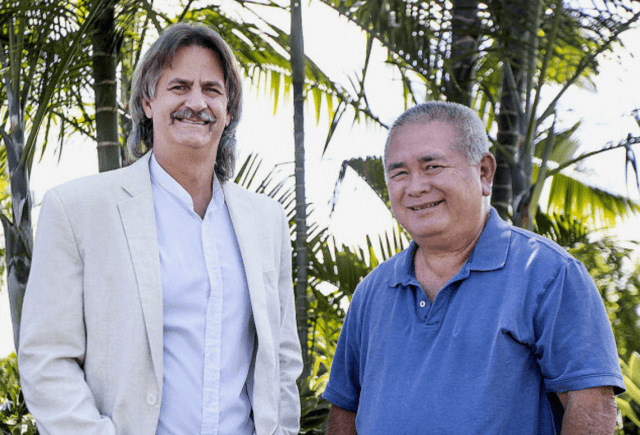 Richard Ha, left, and Marco Mangelsdorf are leading efforts to form an electric utility co-op on the Big Island.